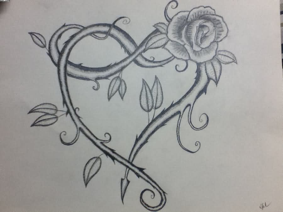 Vine Heart Tattoo Sketch