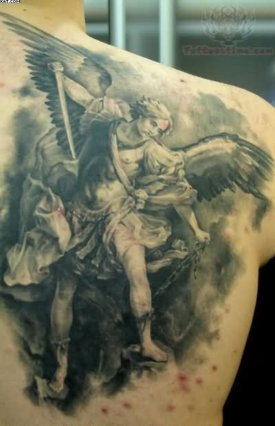 Warrior Angel Back Shoulder Tattoo For Men