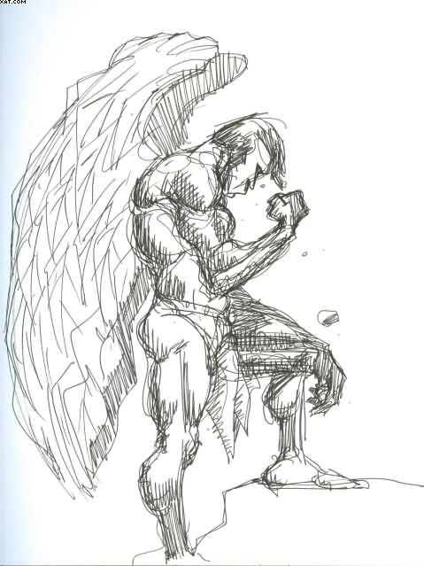 Warrior Angel Tattoo Drawing