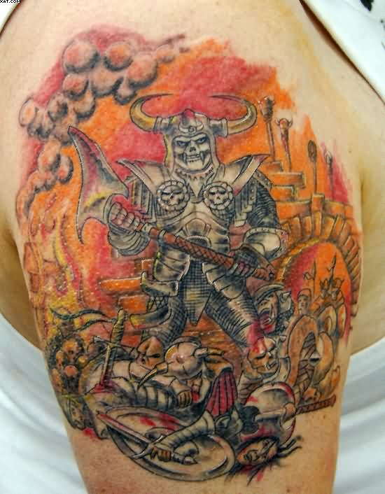 Warrior Color Ink Tattoo On Shoulder
