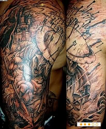 Warrior Fight Half Sleeve Tattoos