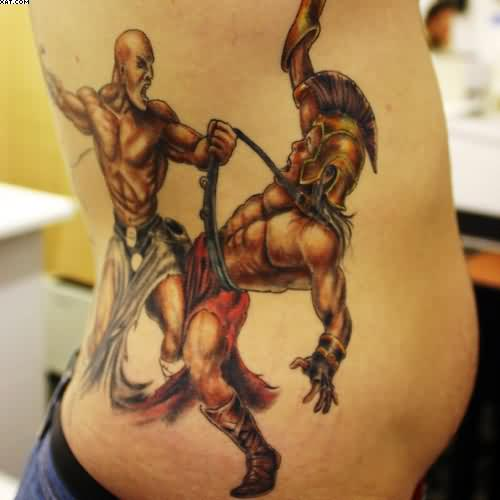 Warrior Fight Tattoo On Rib Side