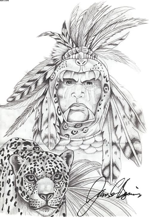 Warrior Jaguar Aztec Tattoo Stencil
