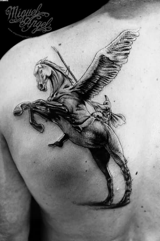 Warrior On Horse Back Shoulder Tattoo