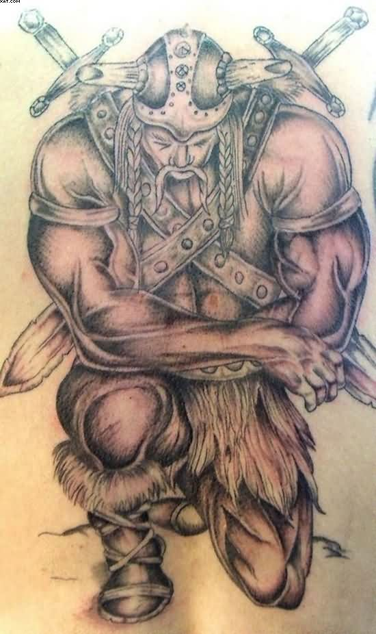 Warrior On Knee Tattoo