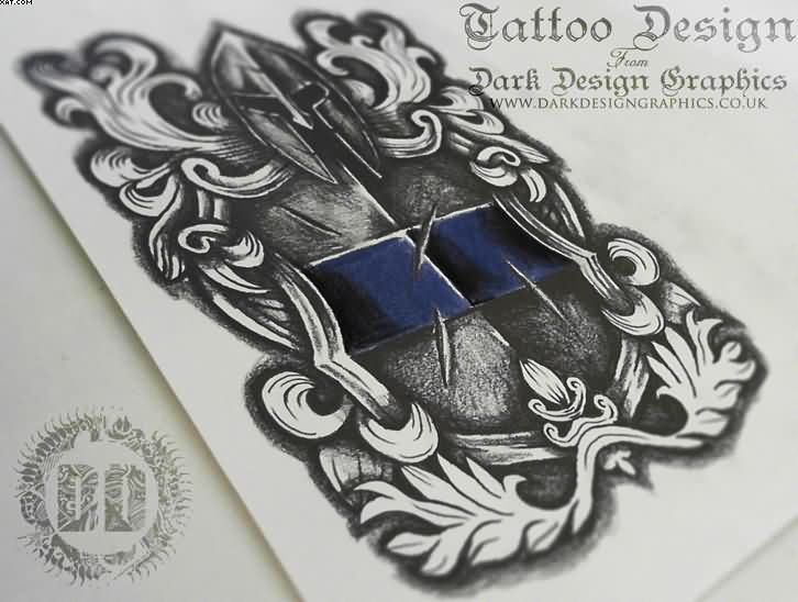 Warrior Shield Crest Tattoo Design