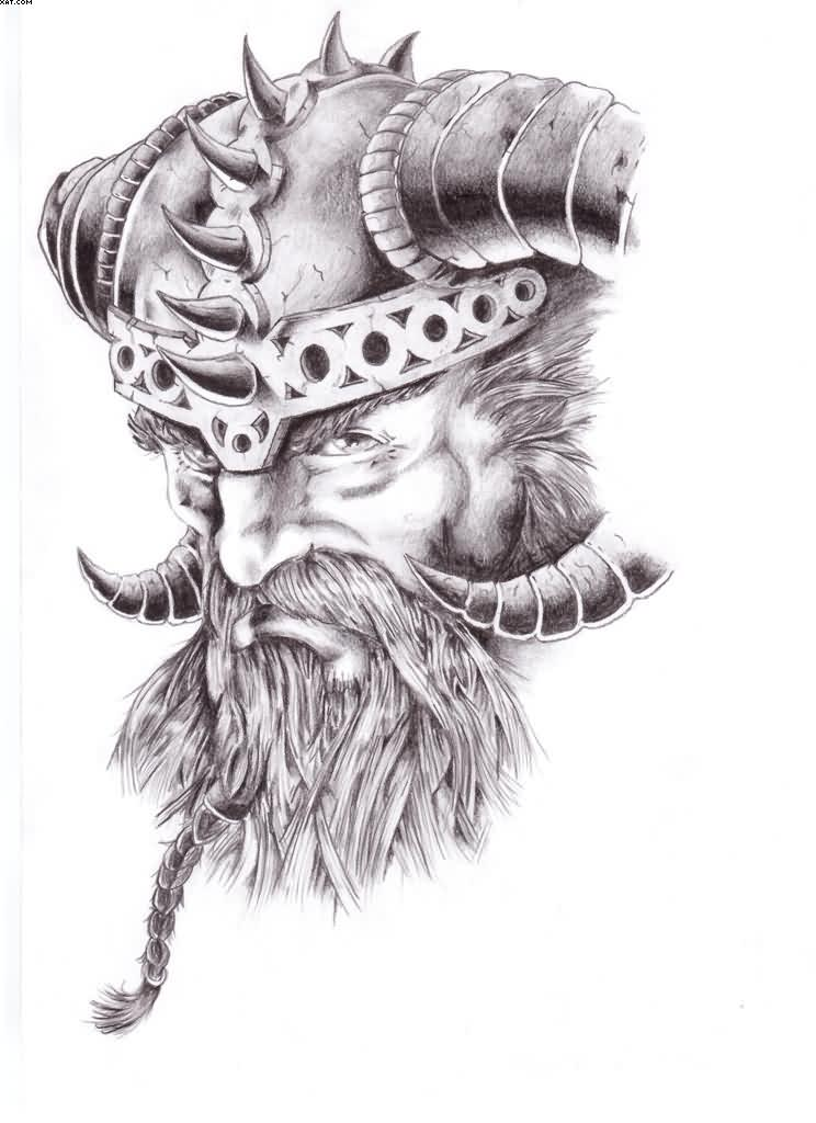 Warrior Viking Head Tattoo Design