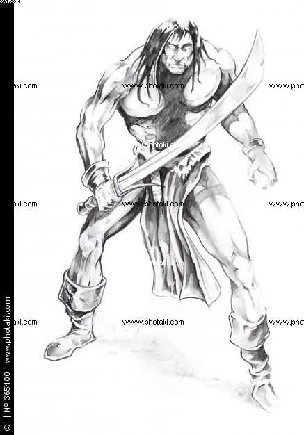 Warrior With Sword Tattoo Design