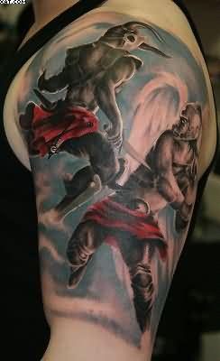 Warriors Angel Devil Fight Battle Tattoo On Half Sleeve