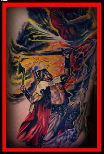Warriors Color Ink Back Piece Tattoo