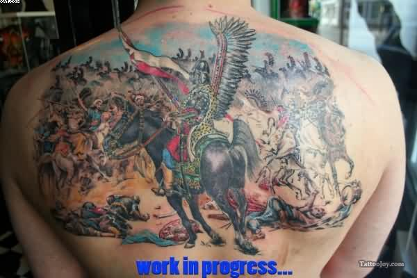 Warriors On Horse Back Piece Tattoo For Men