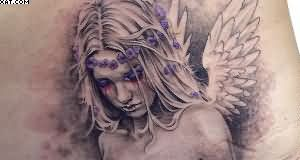 Weeping Angel Girl Tattoo For Waist
