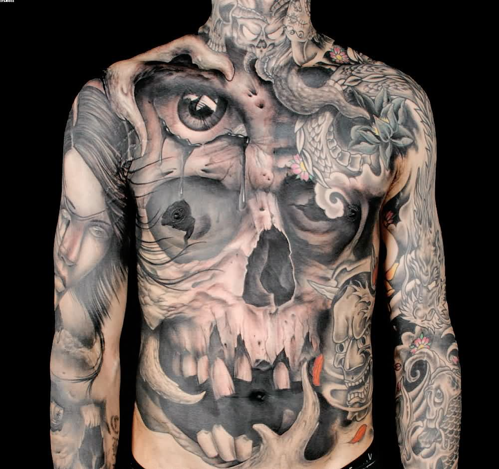 Western Eye And Skull Tattoos