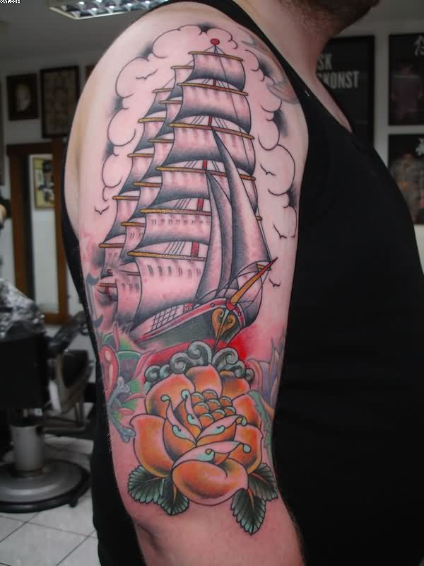 Western Ship And Orange Rose Tattoos On Sleeve