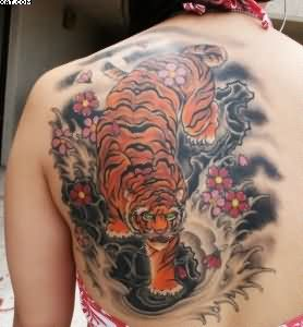 Western Tiger Tattoo For Teen Age Girls