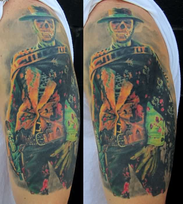 Western Zombie Tattoo On Sleeve