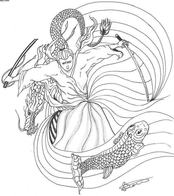 Without Color Samurai Warrior And Koi Fish Tattoo Design