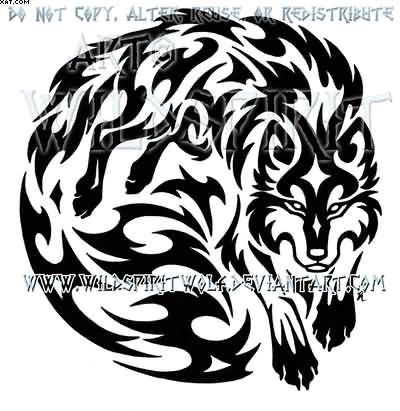 Wolven Spirit Warrior Tribal Tattoo Design