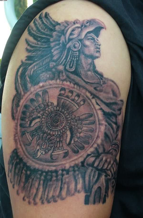 Wonderful Aztec Warrior Tattoo For Biceps