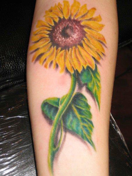 3D Sunflower With Green Leaves Tattoo