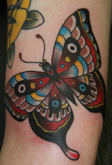 A Very Lovely Traditional Butterfly Tattoo