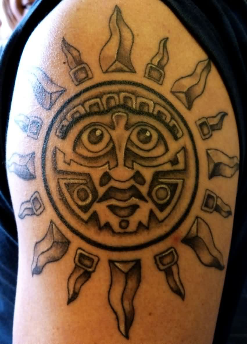 Amazing Aztec Sun Tattoo For Biceps