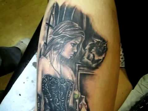 Amazing Realistic Vampire Girl Tattoo