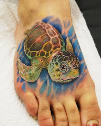Amazing Sea Turtle Tattoo On Right Foot