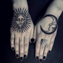Amazing sun And Moon Tattoos On Hands
