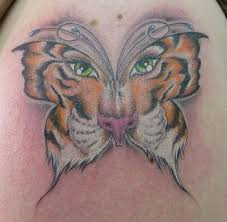 Amazing Tiger Butterfly Tattoo