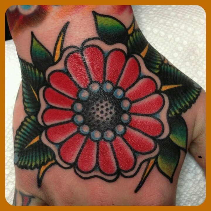 Amazing Traditional Flower Tattoo For Hand