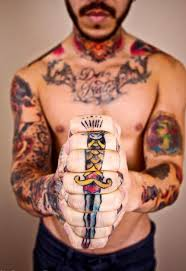 Amazing Traditional Knife Tattoo On Hands