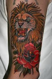 Amazing Traditional Lion And Rose Tattoos