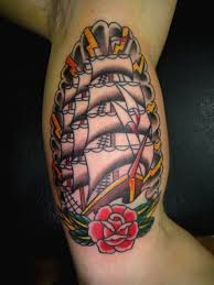 Amazing Traditional Pirate Ship Tattoo On Muscles
