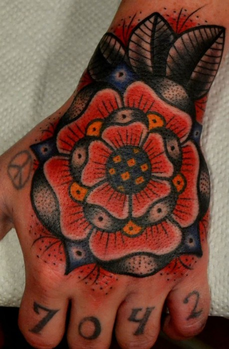 Amazing Traditional Red Rose Tattoo On Hand