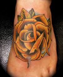 Amazing Traditional Rose Tattoo For Foot