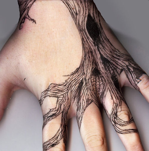 Amazing Tree Hand Tattoo