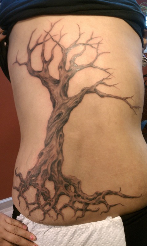 Amazing Tree Tattoo On Side For Women