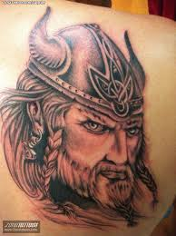 Amazing Viking Face Tattoo For Back Shoulder