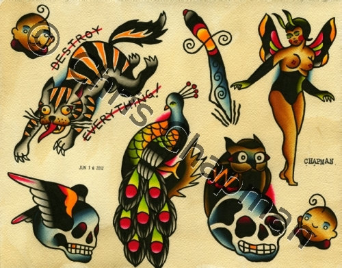 American Traditional Skull Tattoo Sheet
