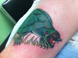 Angry Panther Turtle Tattoo