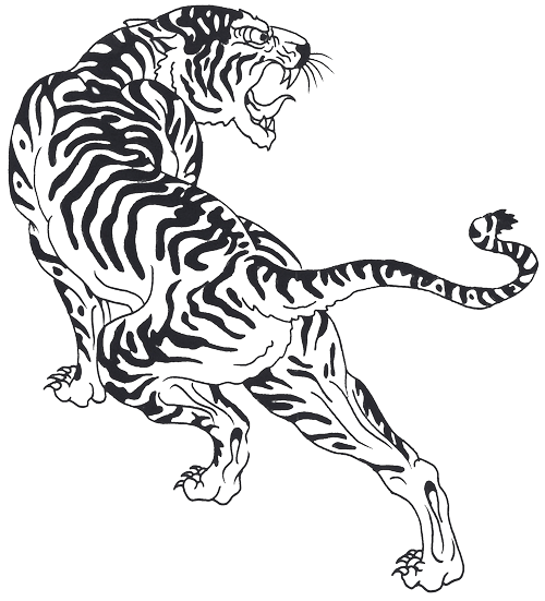 Angry Tribal Tiger Tattoo Design