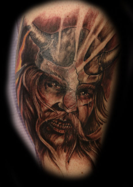 Angry Viking Head Tattoo