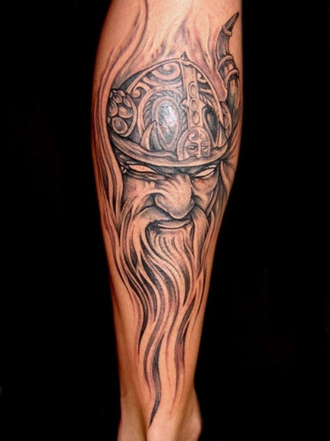 Angry Viking Tattoo For Leg