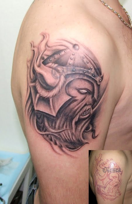 Angry Viking Tattoo On Right Shoulder