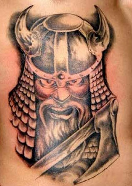 Angry Viking Tattoo With Grey Ink