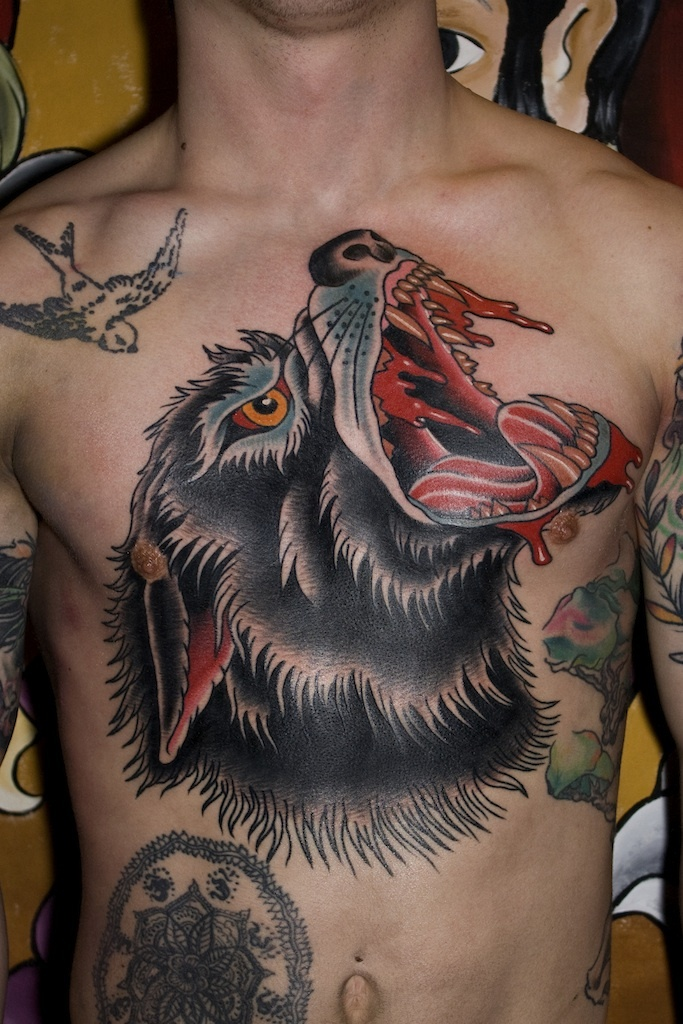 Angry Wolf Head Traditional Tattoo On Chest