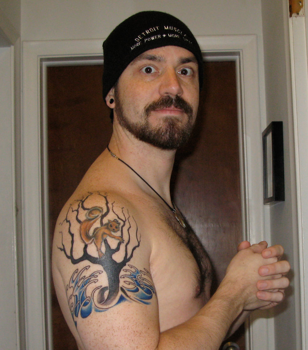 Animal On Tree Tattoo For Shoulder