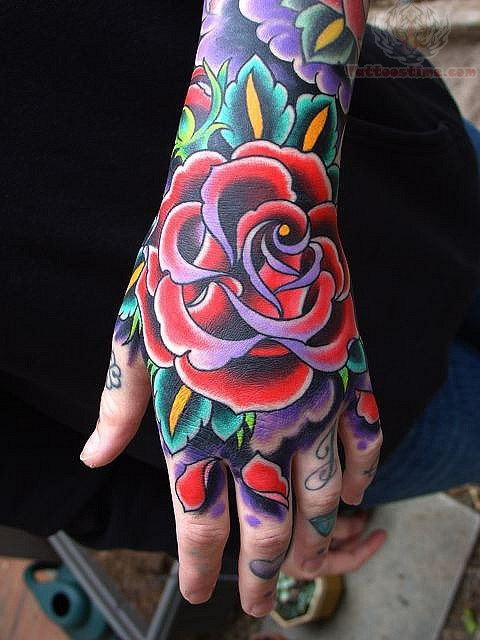 Attractive Traditional Rose Tattoo For Hand