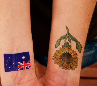 Australian Flag And Sunflower Tattoos On Wrist